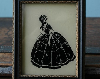 "Vintage Fashion Black & ""White"" Victorian Lady Silhouette Picture ""Ladye Faire"" Cream  Framed Glass Art Victorian Decor Bustle Gown Corset"
