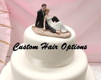 Personalized Wedding Cake Topper - Beach Wedding - Romantic Couple Lounging on the Beach Cake Topper - Romantic - Destination Wedding