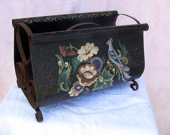 Vintage Toleware Vintage Tole Magazine Rack Shabby Cottage Decor Birds Flowers