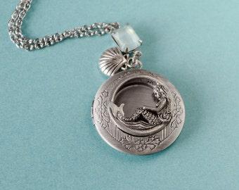 Mermaid Locket, Vintage Brass Locket Necklace, Secret Locket, Antique Locket, Gift for Her, Equestrian