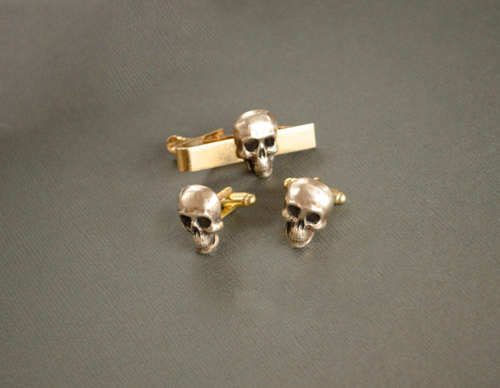 Skull Cufflinks and Tie Clip Skull Gifts Skull Tie Clip Victorian Gothic Skulls Halloween Cufflinks Halloween