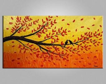 Landscape Oil Painting, Love Birds Painting, Original Painting, Canvas Painting, Wall Decor, Wall Hanging, Bedroom Art, Wedding Gift