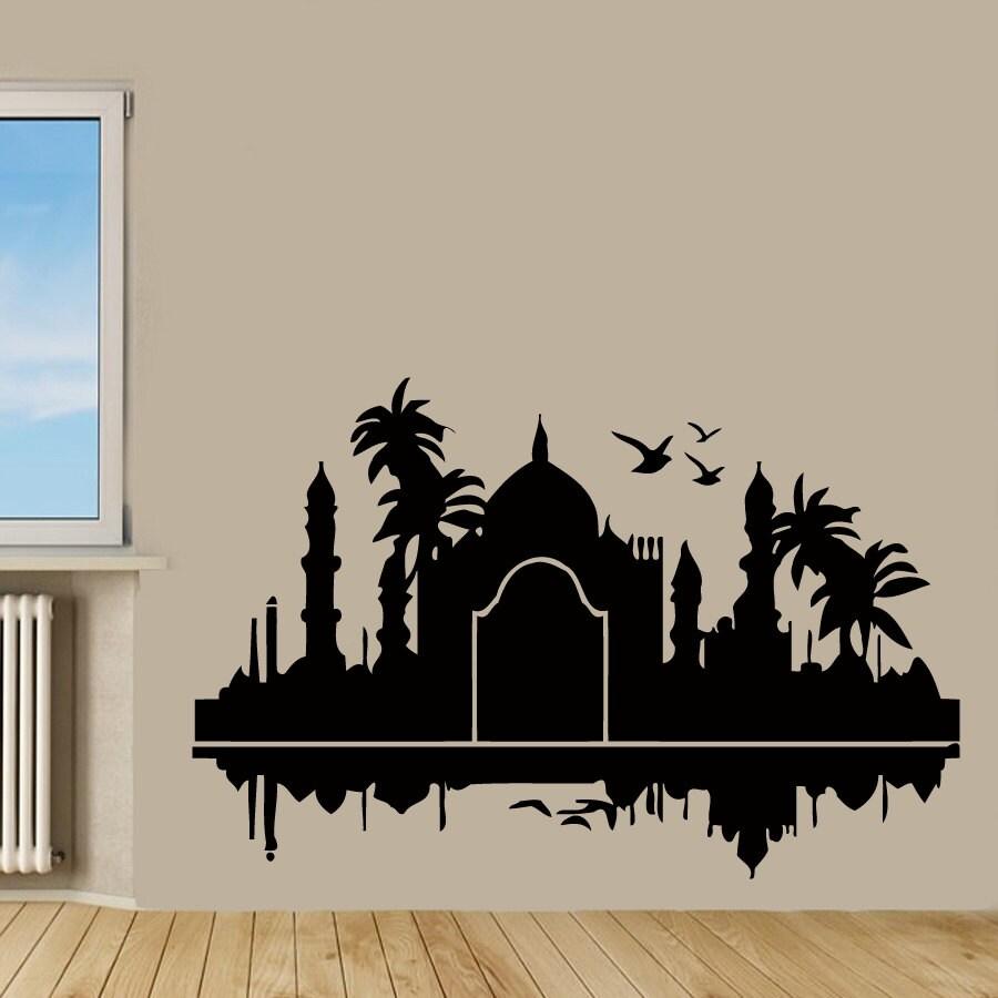 Taj Mahal Wall Decals India Design Palms Birds Wall Decor