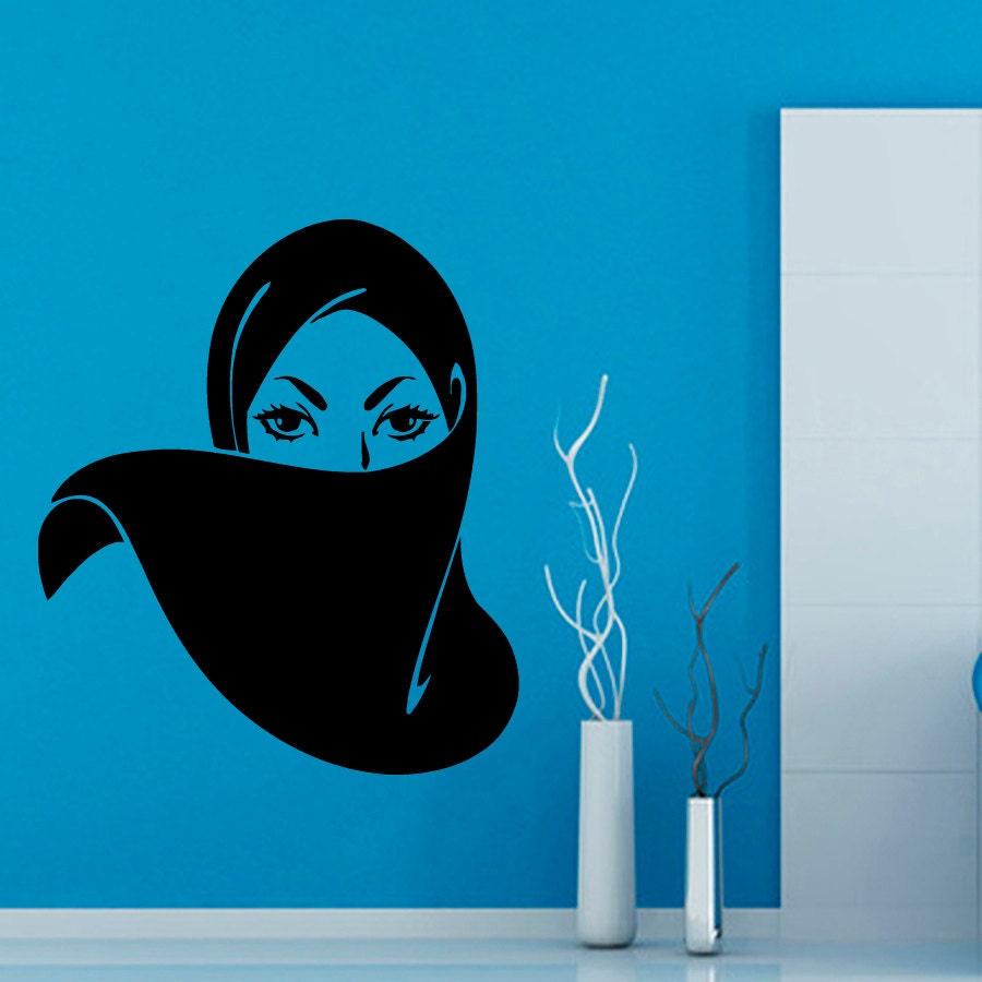 Arab Girl Wall Decals Muslim Woman Paranja Beauty Salon Girls