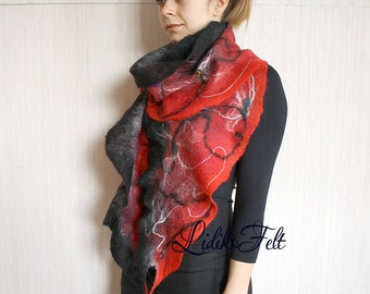 Felted Wool Cobweb Ruffle Scarf Shawl Wrap BLACK RED