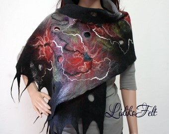 Cobweb Felted Wool Scarf Shawl Wrap BLACK Gray RED Flowers