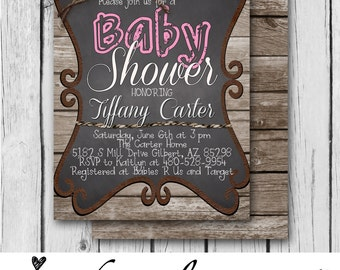 GIRL BABY SHOWER Invitation, Rustic, Pink, Wood, Twine, Chalkboard, Rope, Country, Western - Bridal Shower / Baby - Digital and Printed