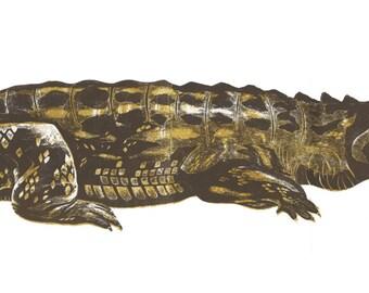 Crocodile Collograph Print