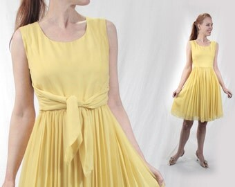 Vintage CHIFFON 1950s party dress women XS 0-2 Petite, 50s party sleeveless yellow 50s dress 60s 1960s dress small girls 16 special occasion