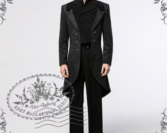 Exclusive Designer Neo-Ludwig Gothic Elegant Aristocrat Victorian False 4pcs Wool Blend Tuxedo Long Coat for Man
