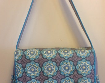 OOAK diaper bag, nappy bag in grey, aqua and yellow w/ aqua piping, gift for baby, baby shower gift, gift for mom
