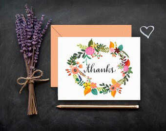 Floral Hand Lettered Calligraphy Stationery / Thanks / FOLDED NOTE CARD