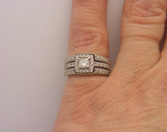 1.50 Carat T.W. Princess Cut Diamond Engagement Ring White Gold 14K