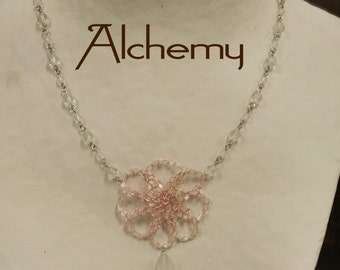 Solidarity - Crocheted Wire - Metal Lace - Beaded Necklace