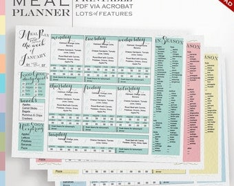 Ultimate Meal Planner - Plan meals by foods in season, food group goals, expiring foods each month - 12 months, editable printable meal plan