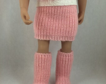 "American Girl Doll Boots and Skirt - 18"" Doll Knitted Skirt and Boots. Fits 18 inch Dolls like Maplela and Gotz. American Girl Shoes."