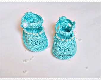 Crochet Baby blue shoes Crochet baby shoes Christening Blessing Booties Baby sandals Knit baby boots Newborn baby shoes Crochet Baby