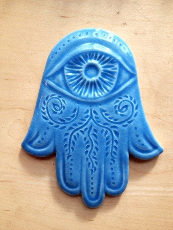 Blue Hamsa wall hanging, in light blue