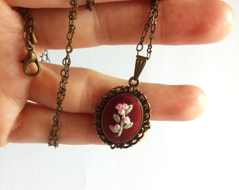 Unique necklaces for women Cute necklace Pink flower necklace Jewelry gift under 20