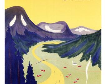 Vasterbotten Sweden, Vintage Swedish Travel Poster, Scandinavia
