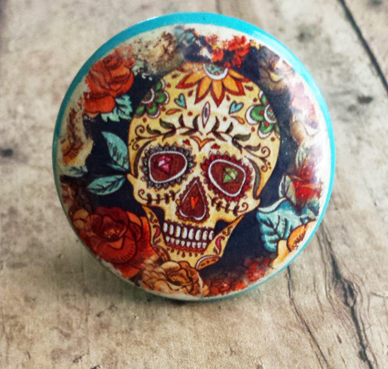 Sugar Skull Knob Drawer Pulls Diamond Eyes Flowers Birch-9451