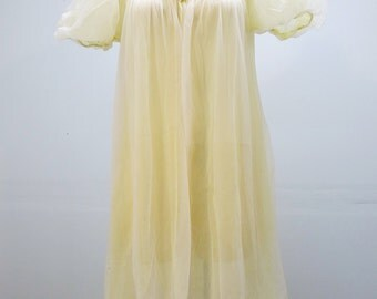 70's Sheer Night Dress / Dressing Gown Pale Yellow with Puffed Sleeves