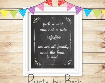Chalkboard Wedding Ceremony Seating Sign, pick a seat sign, digital download, wedding printable