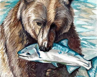 "Watercolour Grizzly Bear with Fish Print ""Nice Catch"""