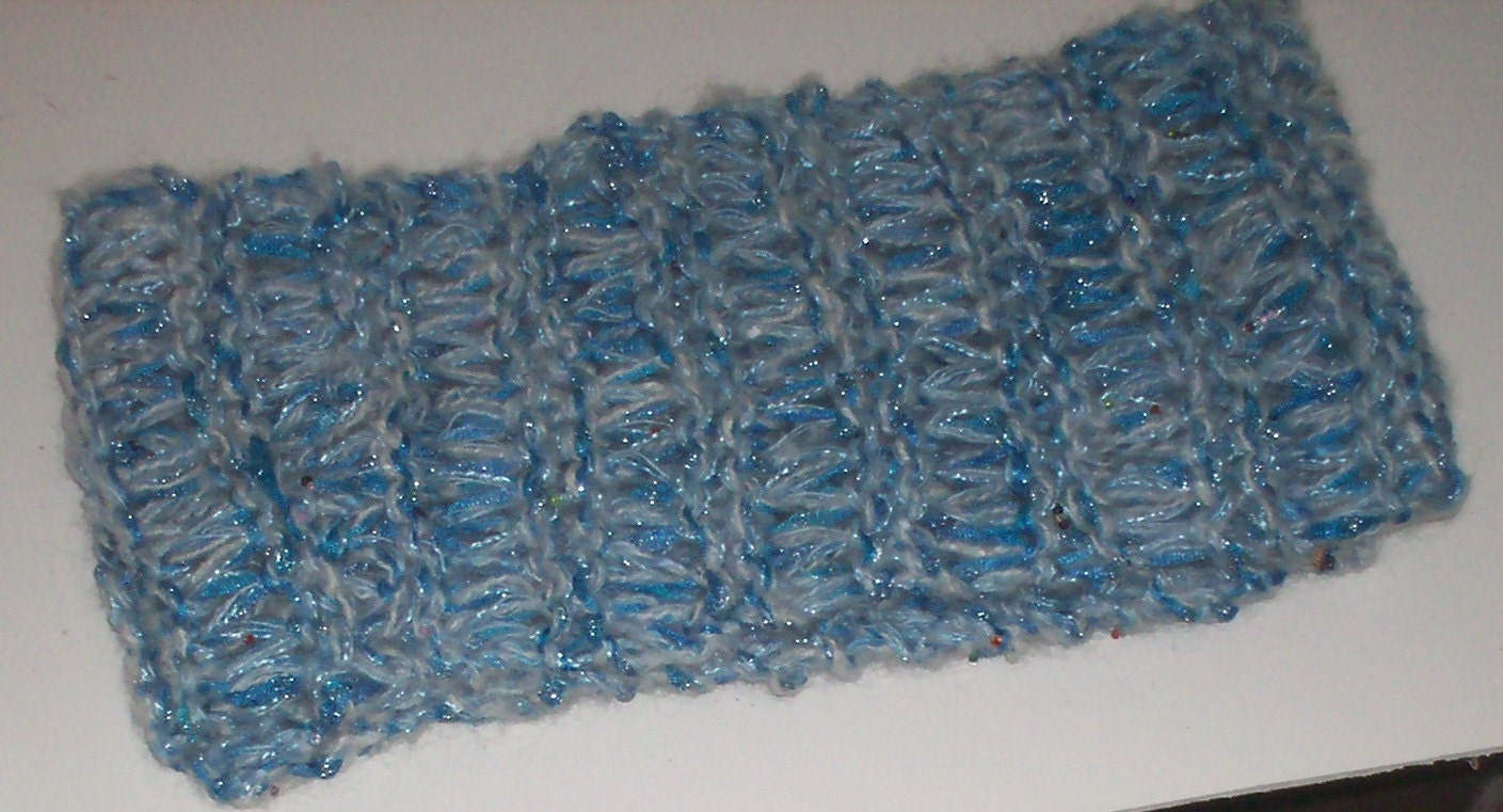 Ribbons & Ridges drop stitch blue beaded scarf Hand Knit