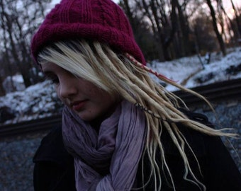 Berry red cable knit hat