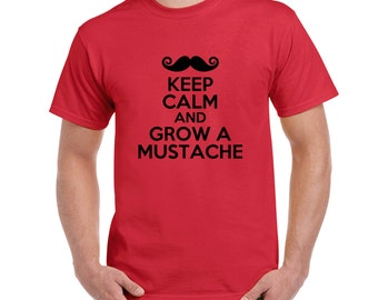 Keep Calm And Grow A Mustache T-shirt,Tees, Mustache, Vintage, Features, Style, Funny, Retro,Gift, DTG, Digital Printing, Direct To Garment