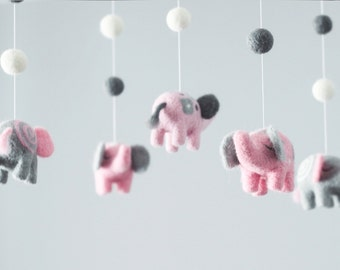 Needle Felted Elephant Baby Mobile, Nursery Decor, Baby Shower Gift