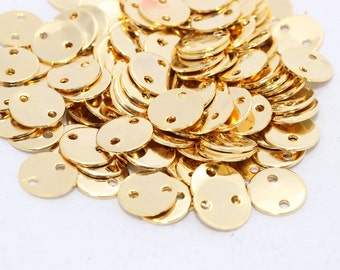 10mm 24k Shiny Gold Disc, Stamped Disc, Coins, Two holes disc, Stamp, Stamping tag , DOM43