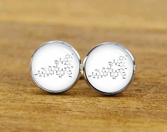 Oxytocin Cufflinks, Oxytocin Molecular Formula, Custom Your Molecule Cufflinks, Wedding, Round, Square Cufflinks, Tie Clip Or A Matching Set