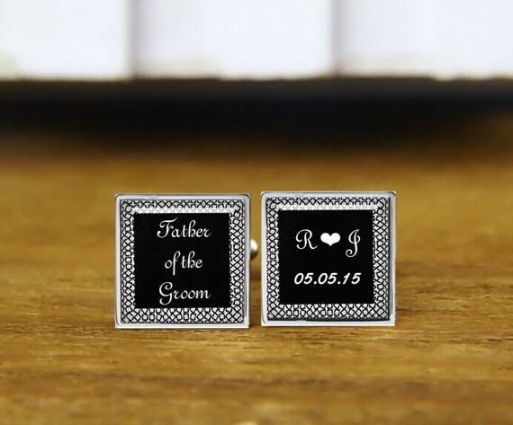 father of the groom cufflinks, custom initials and date cuff links, custom wedding cufflinks, round, square cufflinks, tie clips, or set