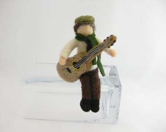 Irish pub musician, seated guitar player, needle felted wool, Waldorf inspired miniatures, acoustic guitar