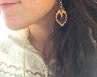 Walnut Heart Earrings