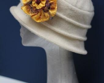 Large yellow silk brooch