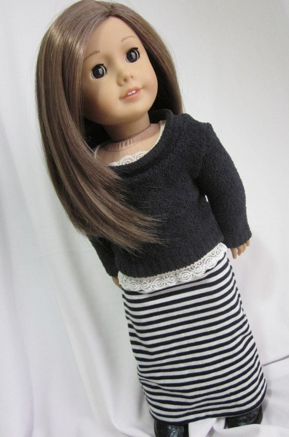 Maxi skirt in black and whie stripe for 18 inch dolls such as American Girl