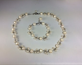 SALE-Freshwater Pearls Ensemble in Sterling Silver