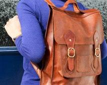 "Leather Backpack | Black or Brown | Stylish & Simplistic | Front pocket | Festival Bag | Cycle Bag |  | MEDIUM Size | 15"" Laptop"
