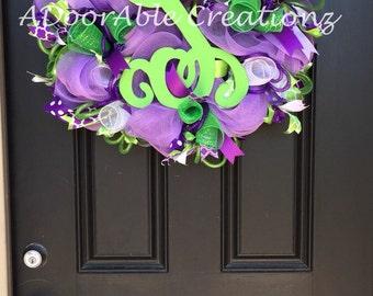 Purple Spring  Deco Mesh Wreath, Purple Monogram Wreath, Purple Wreath, Spring and Summer Mesh Wreath