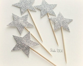 Glitter Silver Star double-sided  Cupcake Toppers, Food Picks