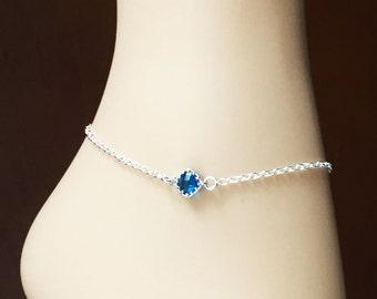Capri Blue Silver Anklet - Diamond Shape Framed Glass Bracelet - Something Blue - Sterling Silver Chain - Foot Jewelry - Foot Bracelet