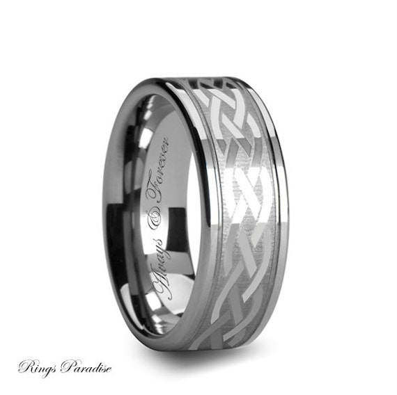 Celtic Tungsten Wedding Band Celtic Ring His And Her Promise