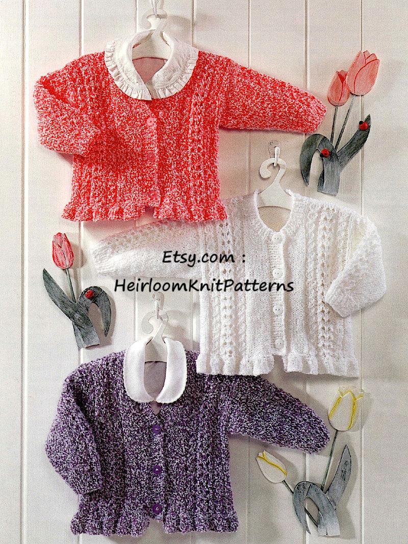 Knitting Pattern Cardigan 8 Ply : Baby Girls Cardigans Vintage Knitting Pattern in DK/ 8 ply