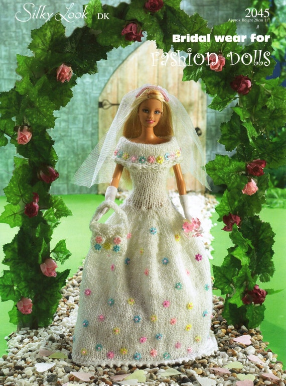 Barbie wedding dress teenage doll clothes knitting pattern for Wedding dress patterns free download