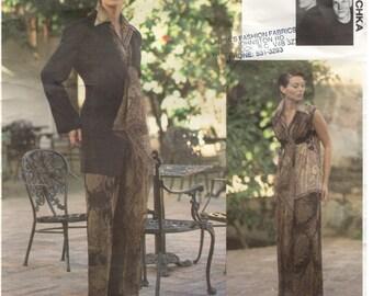 Vogue Attitudes 1400 Size 8, 10, 12.  Women's vintage sewing pattern: lined jacket, blouse and wide-legged pants. Designer Badgley Mischka.