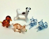 Five Glass Miniature lamp-work Figurines, Dogs, Pink Pig, Blue Mice or Cats