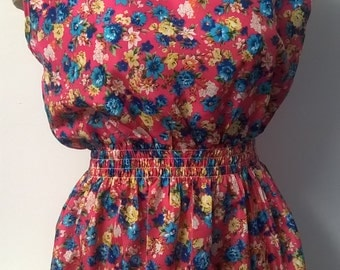 Vintage Style Floral Summer Dress, Beech Dress, Casual Dress, Sleeveless, Knee Lengh, Holiday Dress